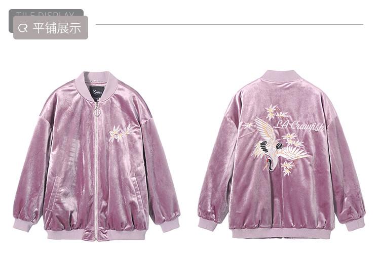 2018冬季新款 长袖圆领刺绣丝绒通勤棉衣棉服外套 女式棉衣