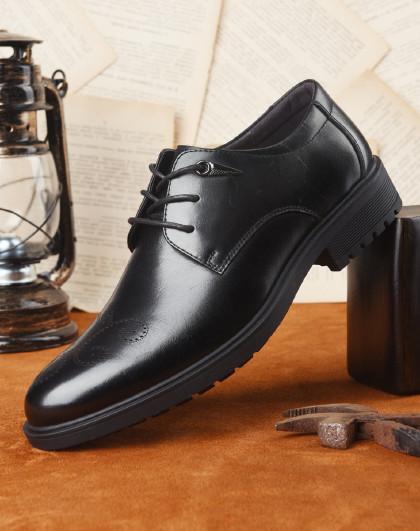 富贵鸟 布洛克雕花男鞋牛津鞋英伦头层牛皮系带商务正装皮鞋