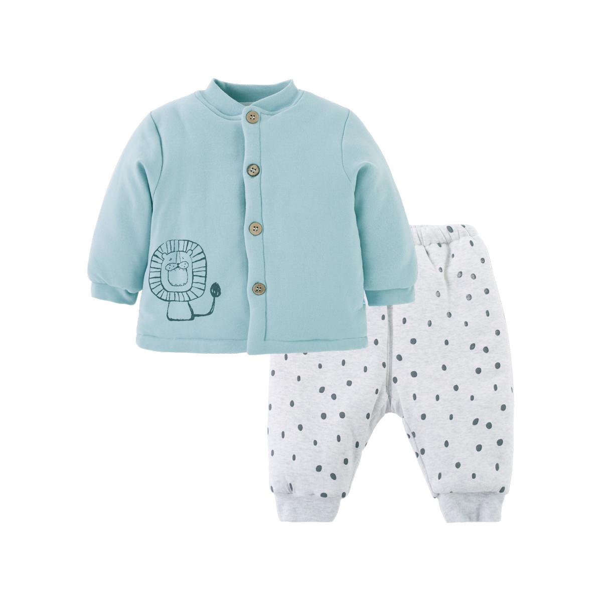 贝贝怡男女宝宝前开夹棉套装冬季卡通舒适保暖外出服两件套184T250154