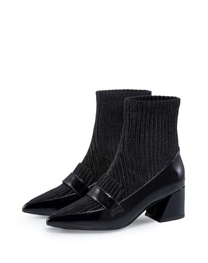哈森2018冬季新款英伦尖头女靴 牛皮丝绒短靴ha81421图片