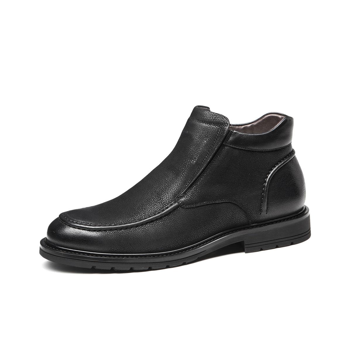 BOSSSUNWEN冬季男鞋牛皮加绒高帮男靴保暖男雪地靴男士棉鞋男士靴子高帮男鞋B12NBR111A