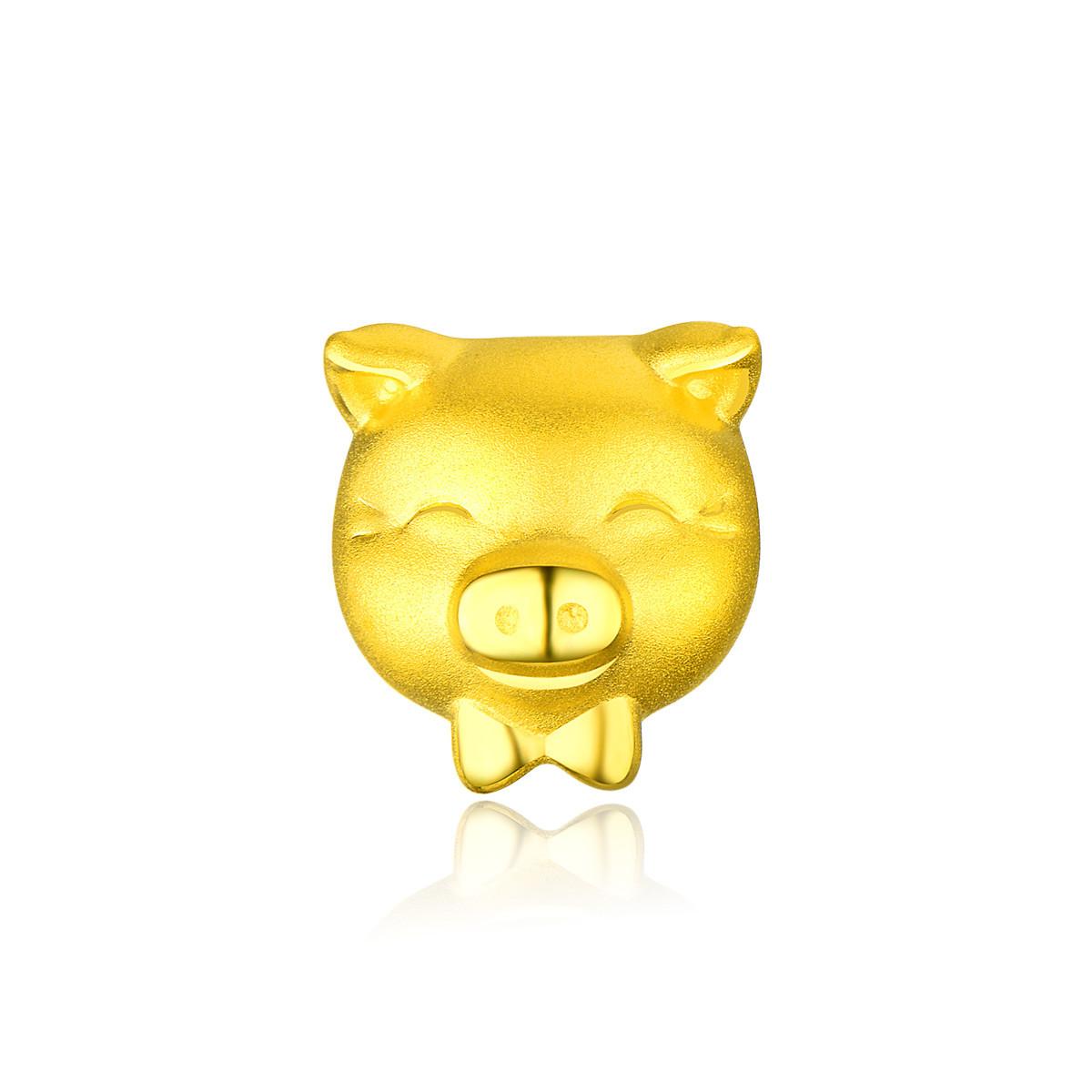 中国黄金3D硬金转运珠黄金手链生肖猪吊坠萌猪足金手串(不含绳)ZGHJSC2105