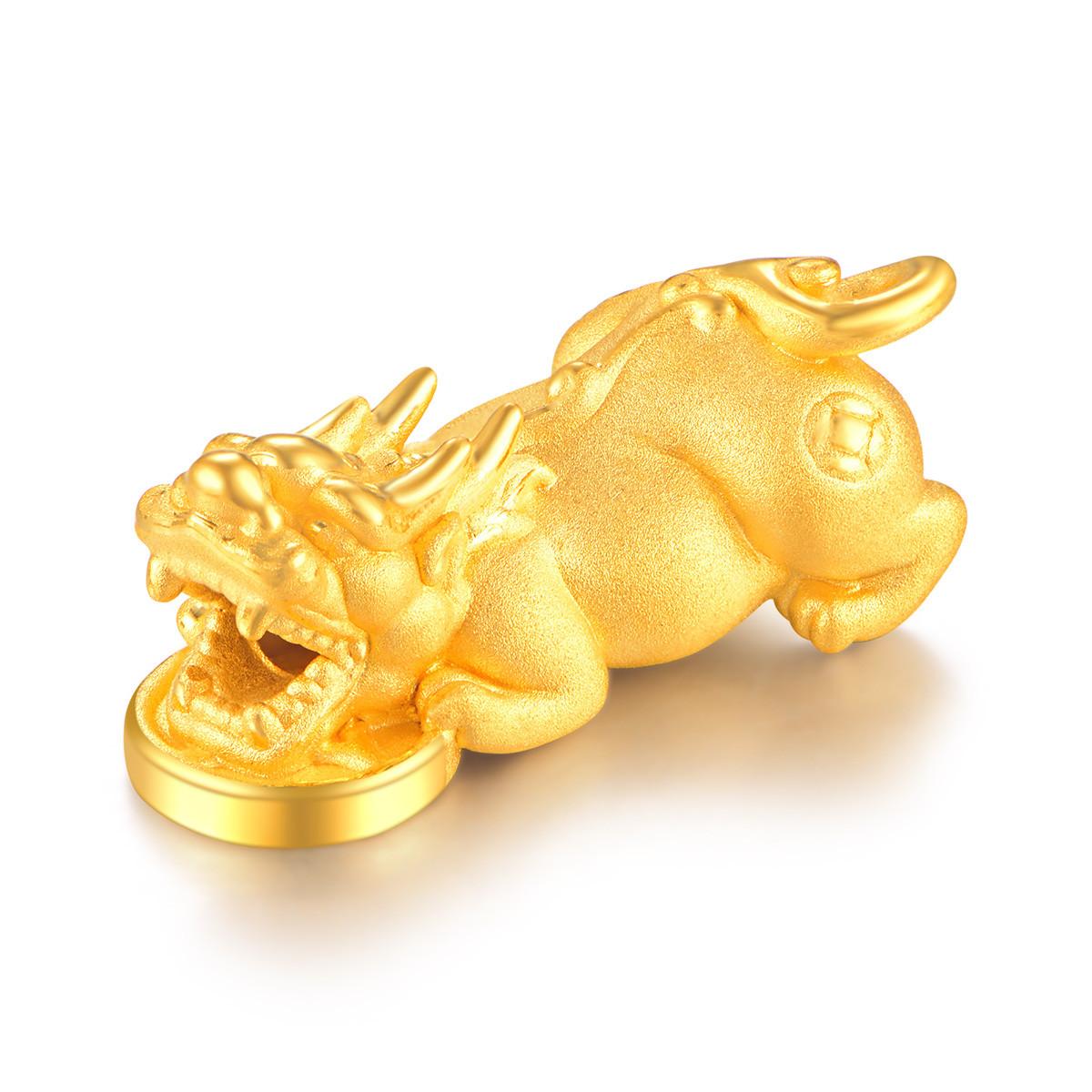 曼卡龙专柜同款 貔貅镇财3D硬金黄金转运珠男女士足金手链串珠 不含链PXZC