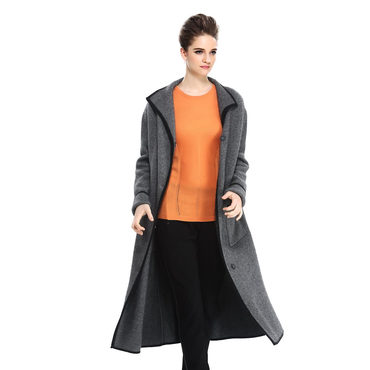 裘堤婼JETEZO秋冬季时尚保暖百搭气质长款针织外套女51715D83