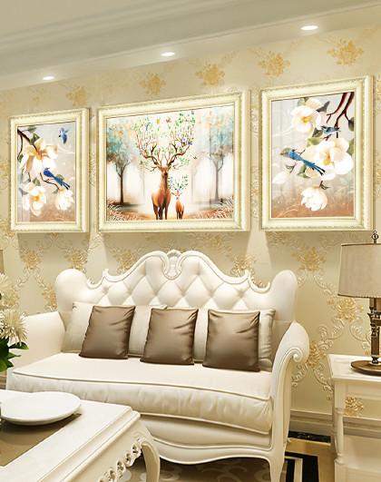 客厅装饰画欧式沙发背景墙装饰挂画墙面壁画时尚大气墙画 祥瑞福禄