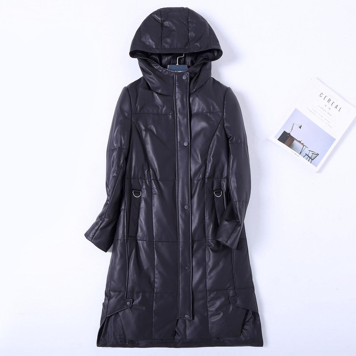 KAISASEGA新款女装连帽拼接皮草长款纯色真皮皮衣外套女款羽绒服KS-959103