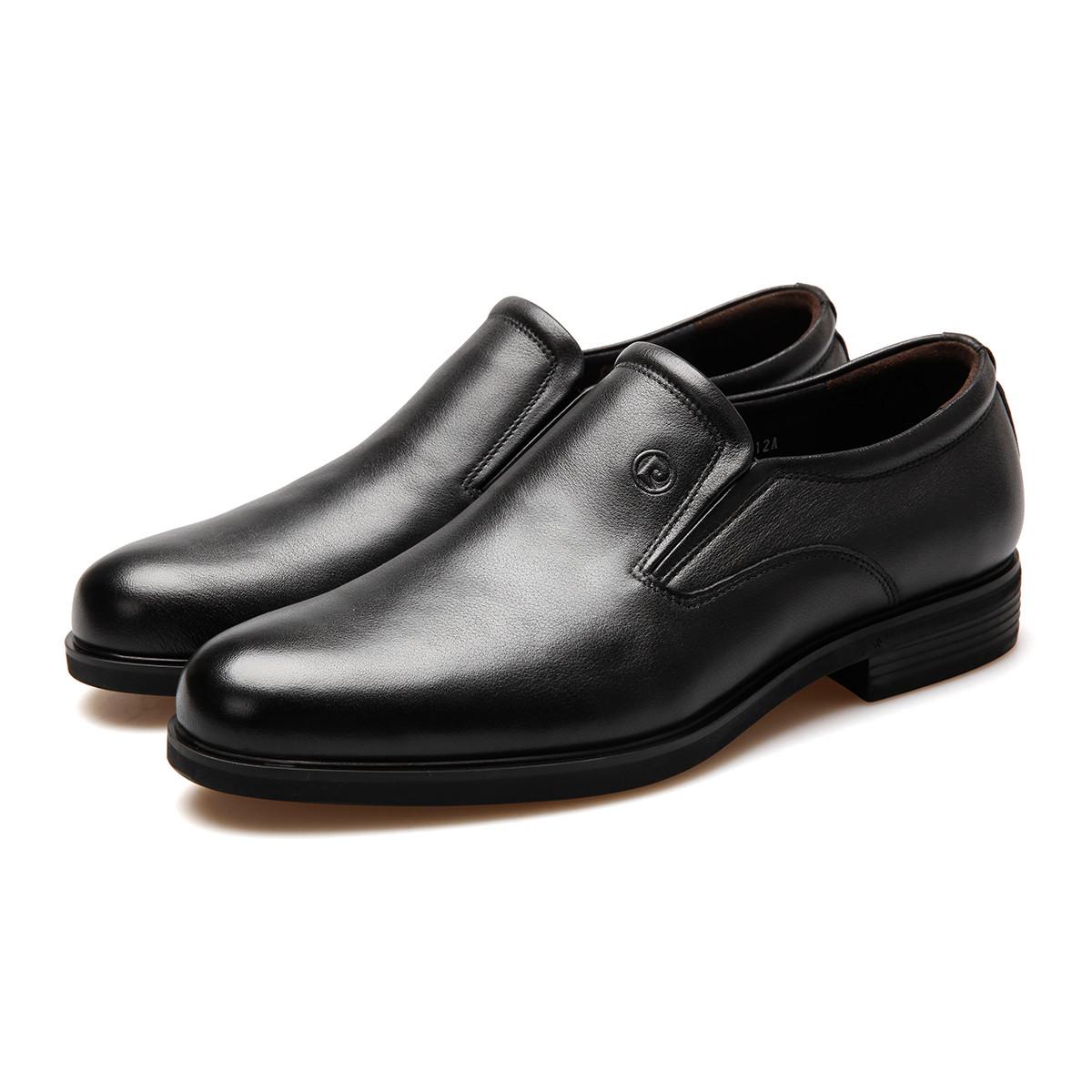 皮尔·卡丹质感软牛皮一片式版面按摩底真皮皮鞋男鞋男士皮鞋P8401F160812A00