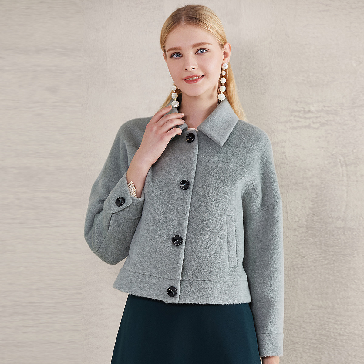 卡迪黛尔卡迪黛尔CADIDL小个子短外套女蝙蝠袖短款大衣外套修身百搭CK00088H4