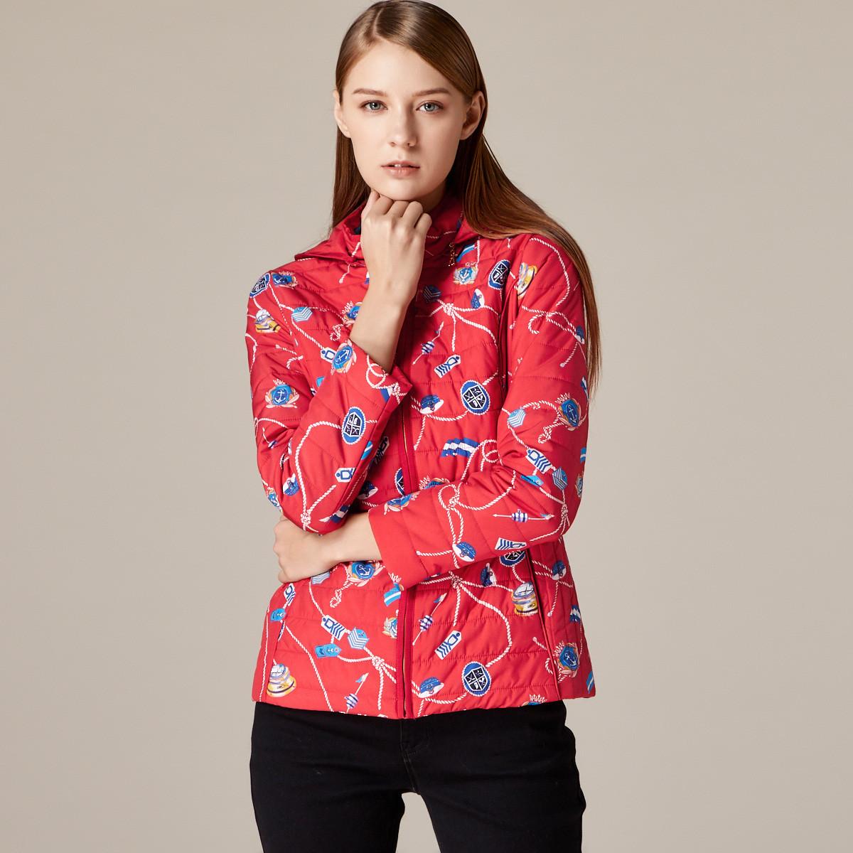 梵思诺时尚修身长袖休闲印花短款保暖棉服女装外套BWBI-T8B40116C