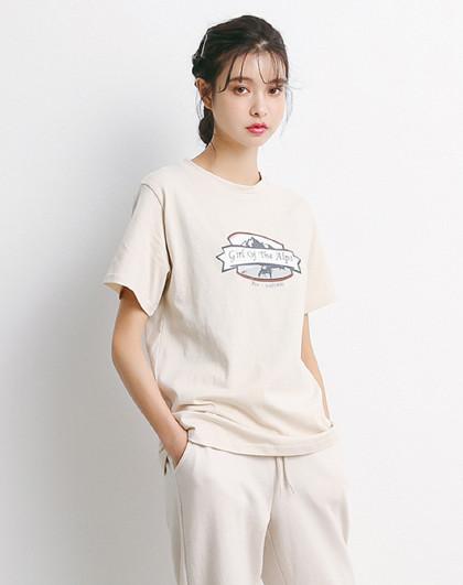 2019新款 時尚字母圖案印花圓領女款運動t恤 寬松百搭上衣圖片
