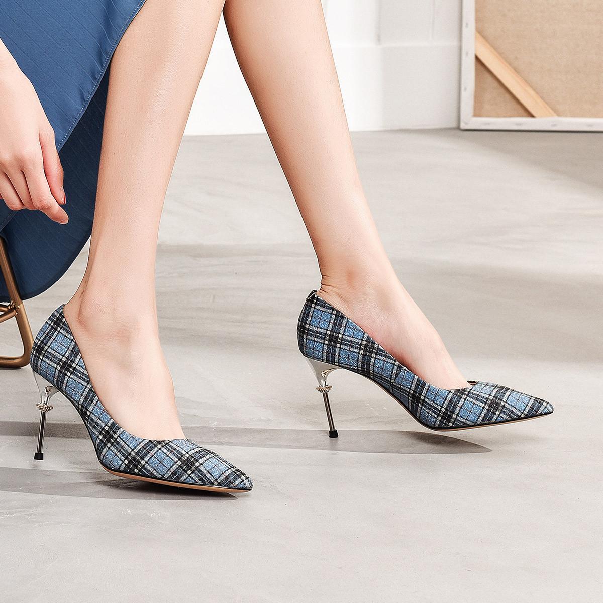 卓诗尼时尚百搭2019春秋季新款女士单鞋浅口尖头细跟增高欧美高跟鞋12191019162