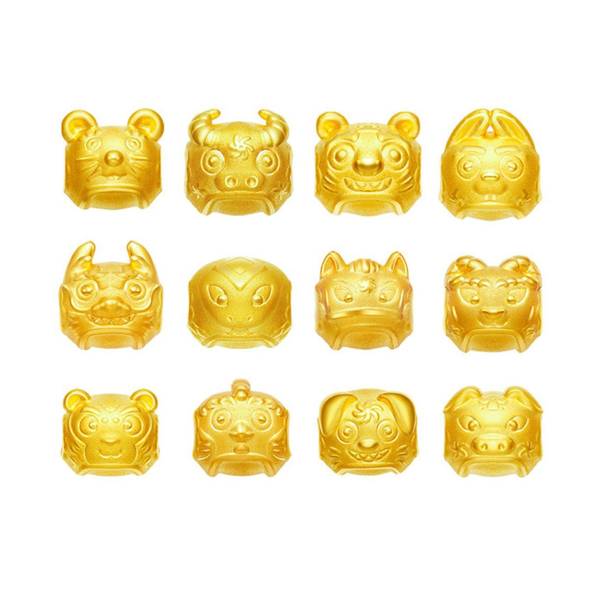明牌珠宝明牌 足金3D硬金福年十二生肖手串定价AFP0081-V