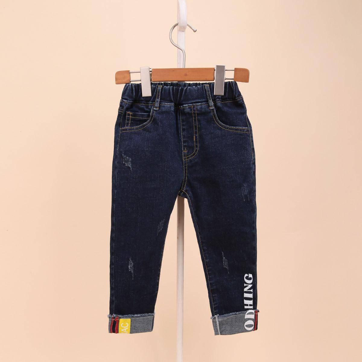 杰米克春款男童儿童创意裤脚卷边牛仔裤宝宝时尚潮流舒适长裤子H483707116