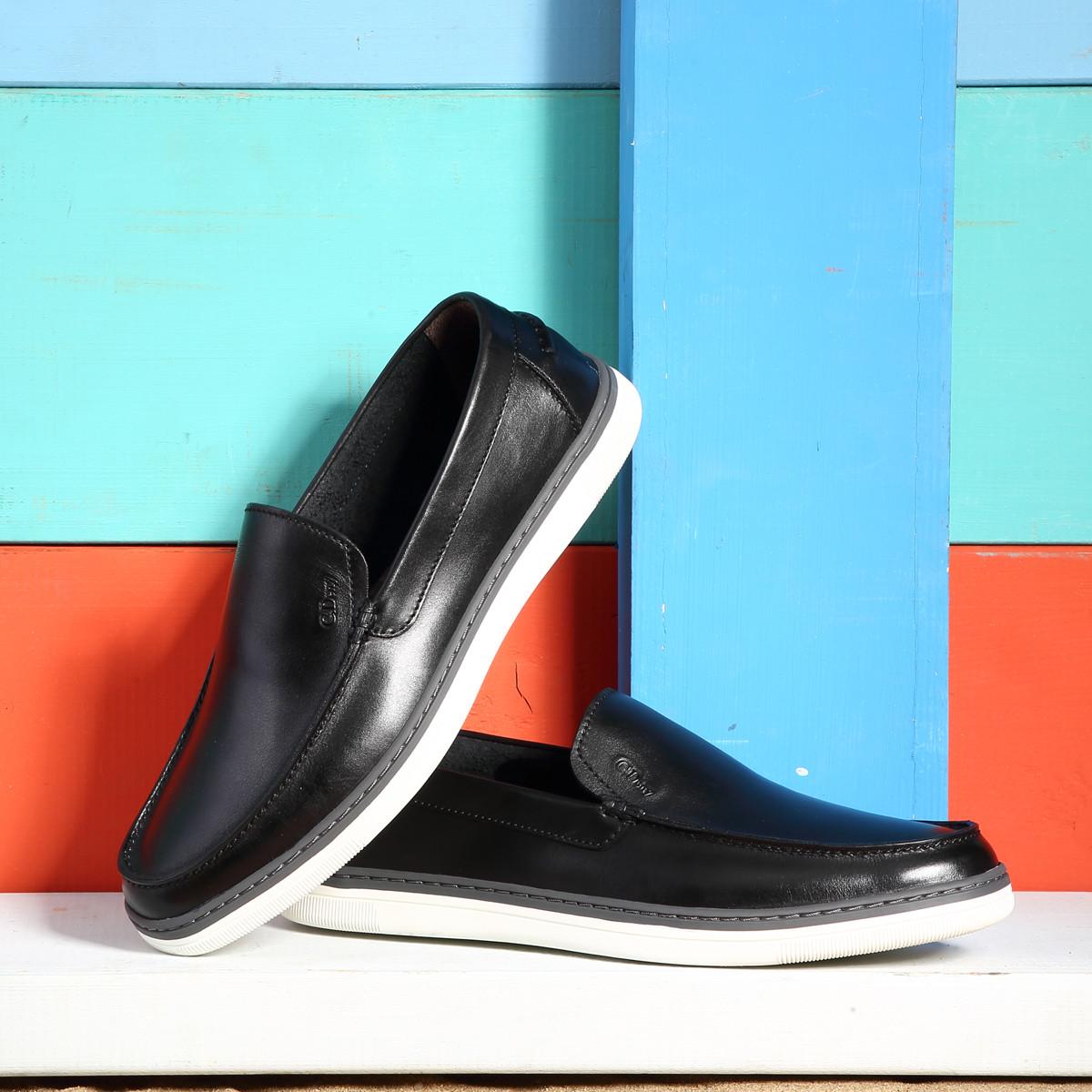 克雷斯丹尼英伦男士休闲鞋懒人鞋潮流百搭一脚蹬男鞋乐福鞋牛皮板鞋RFA3701N1A