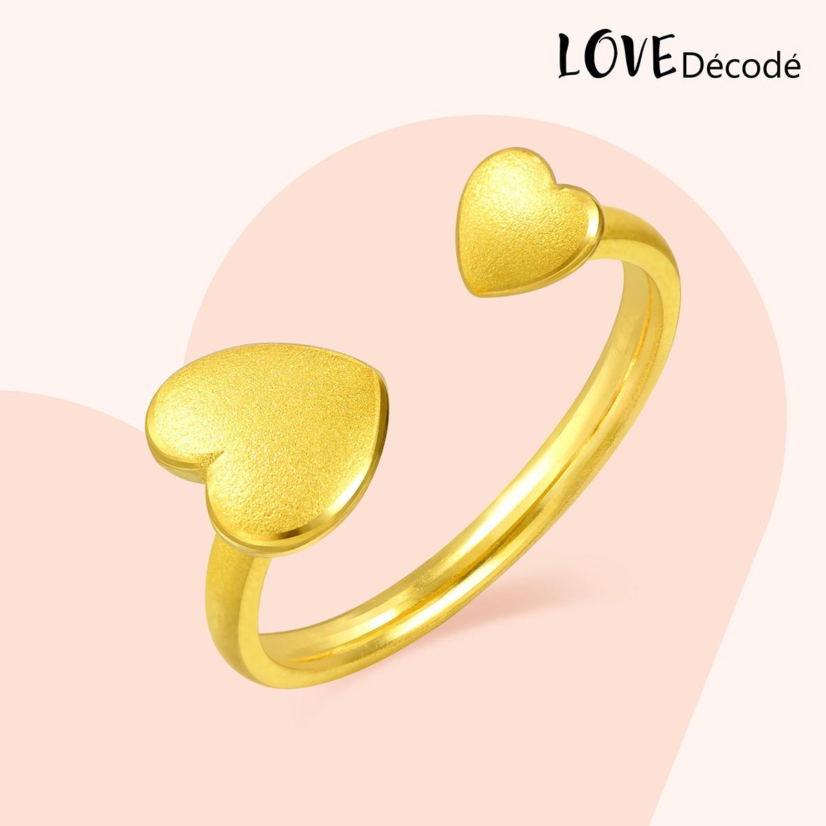 周生生周生生足金爱情密语心相印戒指黄金戒指B90218r如图