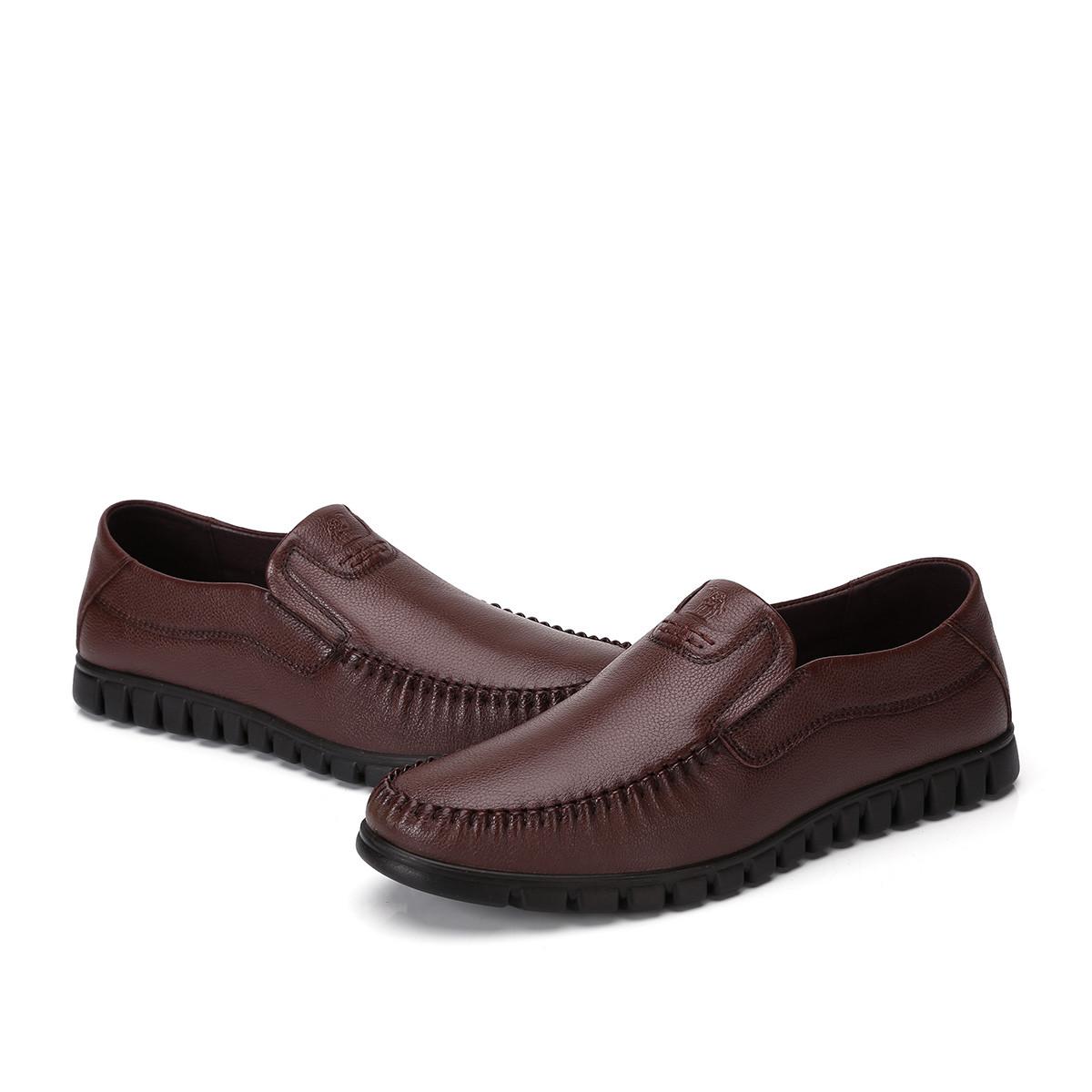 骆驼皮鞋男 商务休闲鞋生活鞋舒适套脚柔软耐折休闲皮鞋90325470832940ZO