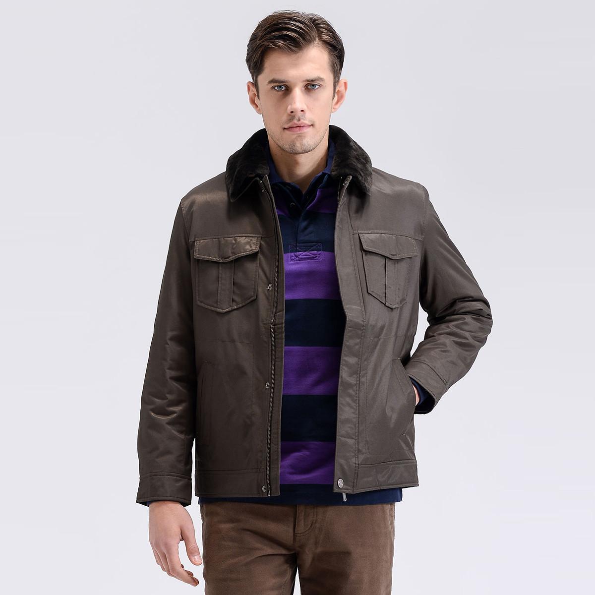 圣大保罗圣大保罗秋冬休闲羊毛皮领宽松大码男士棉服PW12WJ211P8