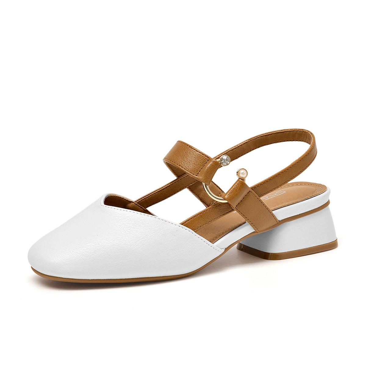 莎诗特【清仓】春秋舒适纯色浅口方头粗跟中后空玛丽珍高跟鞋女单鞋女鞋M18115白色