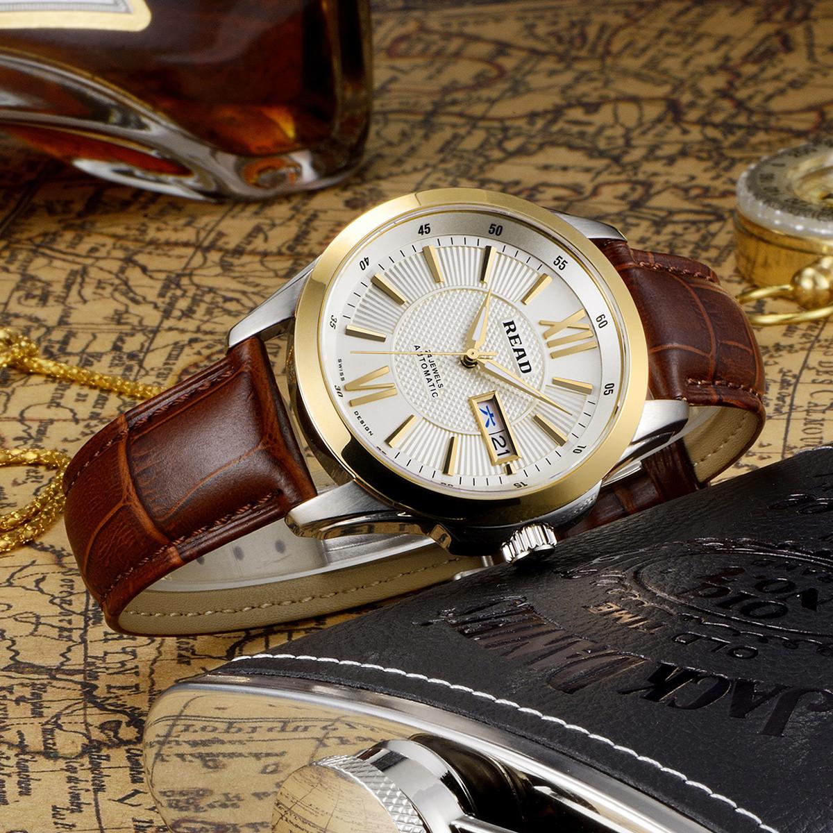 锐力锐力男士手表 进口机芯防划表镜商务真皮自动机械表男表R8016GA42Z44L