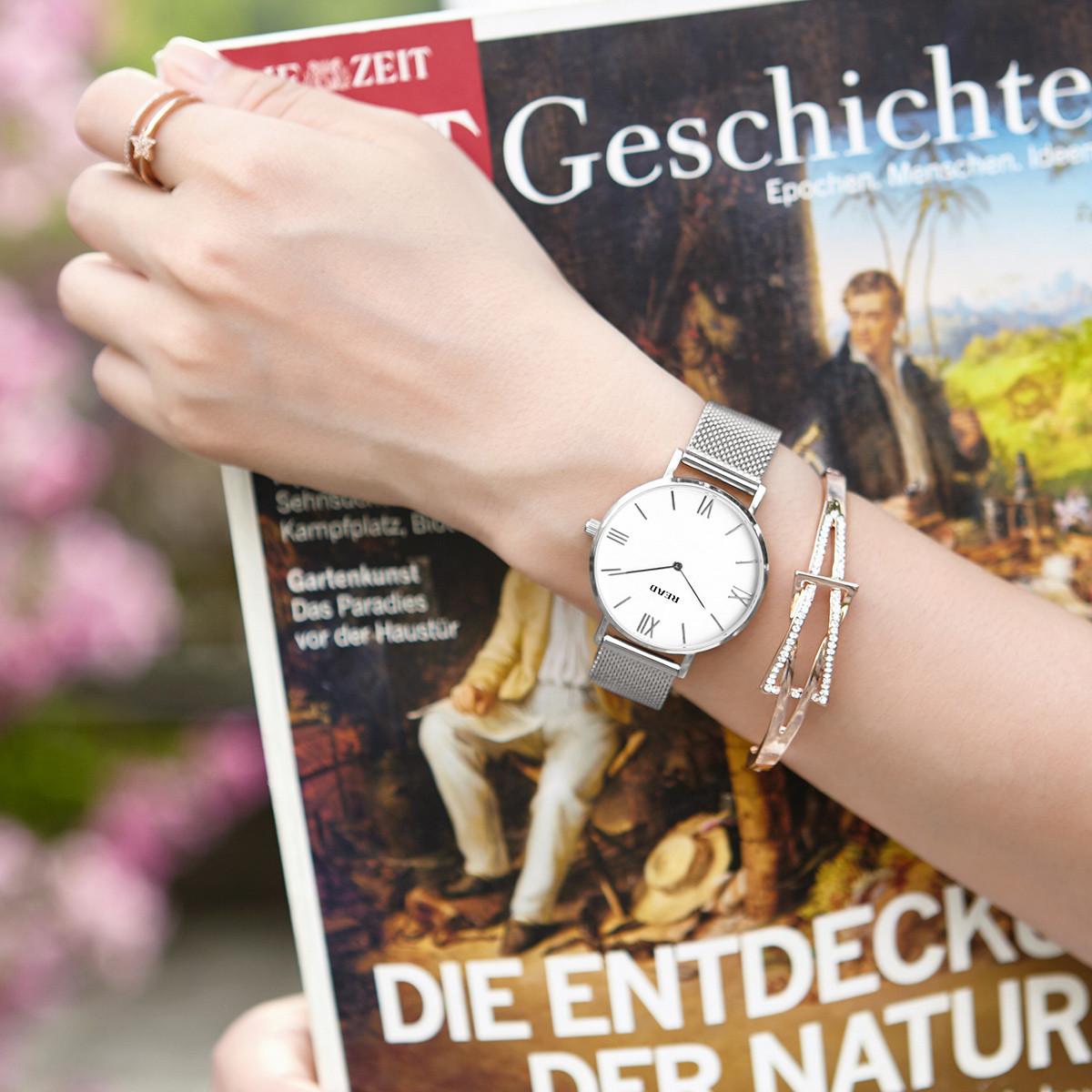 锐力锐力女士手表 简约两针进口机芯超薄不锈钢网带防水石英女表R6005L111L