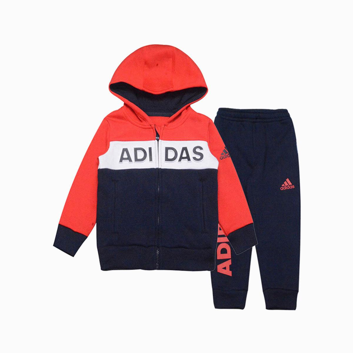 阿迪达斯小童kids 连帽长袖两件套男小童 针织套装DX5053