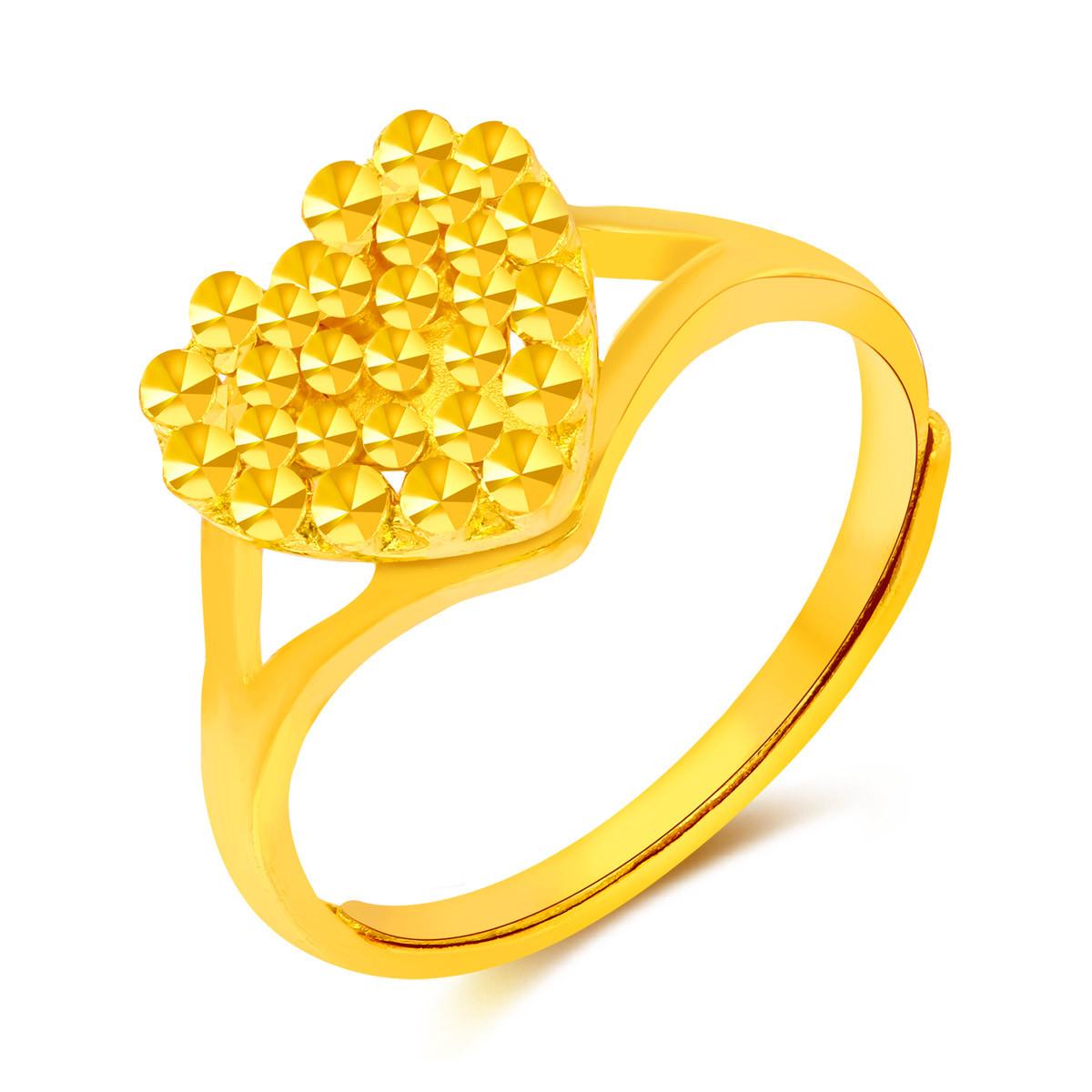 翠绿翠绿 足金仿钻心形黄金戒指(计价)A01000020397