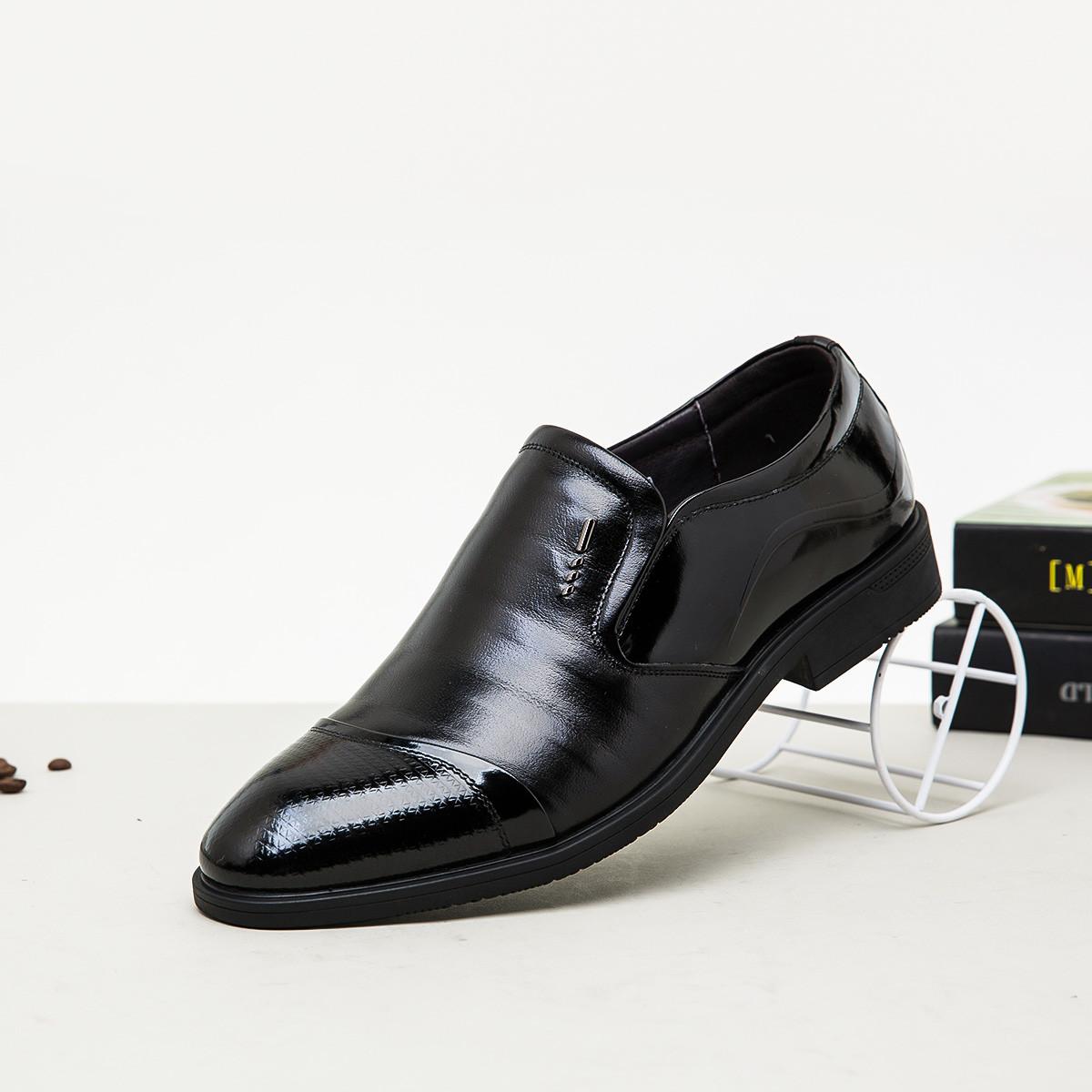骆驼牌骆驼牌男鞋 新款时尚尖头简约商务花纹牛皮男商务鞋商务正装皮鞋W825221110HE