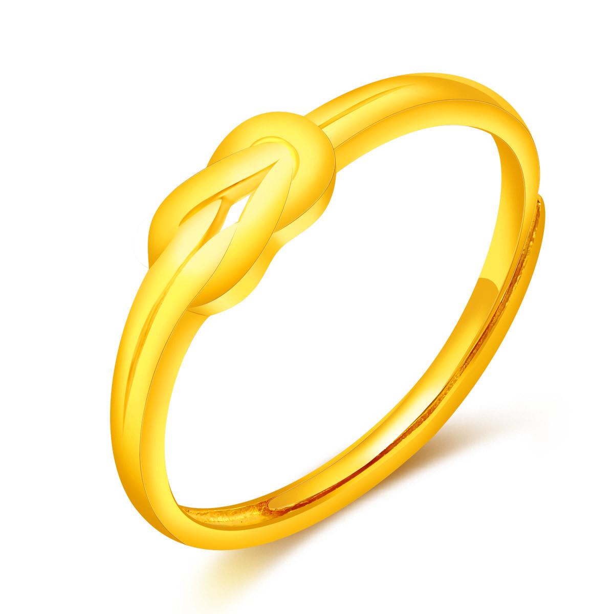 翠绿翠绿 5G黄金 足金同心结女士黄金戒指(计价)A01000021365