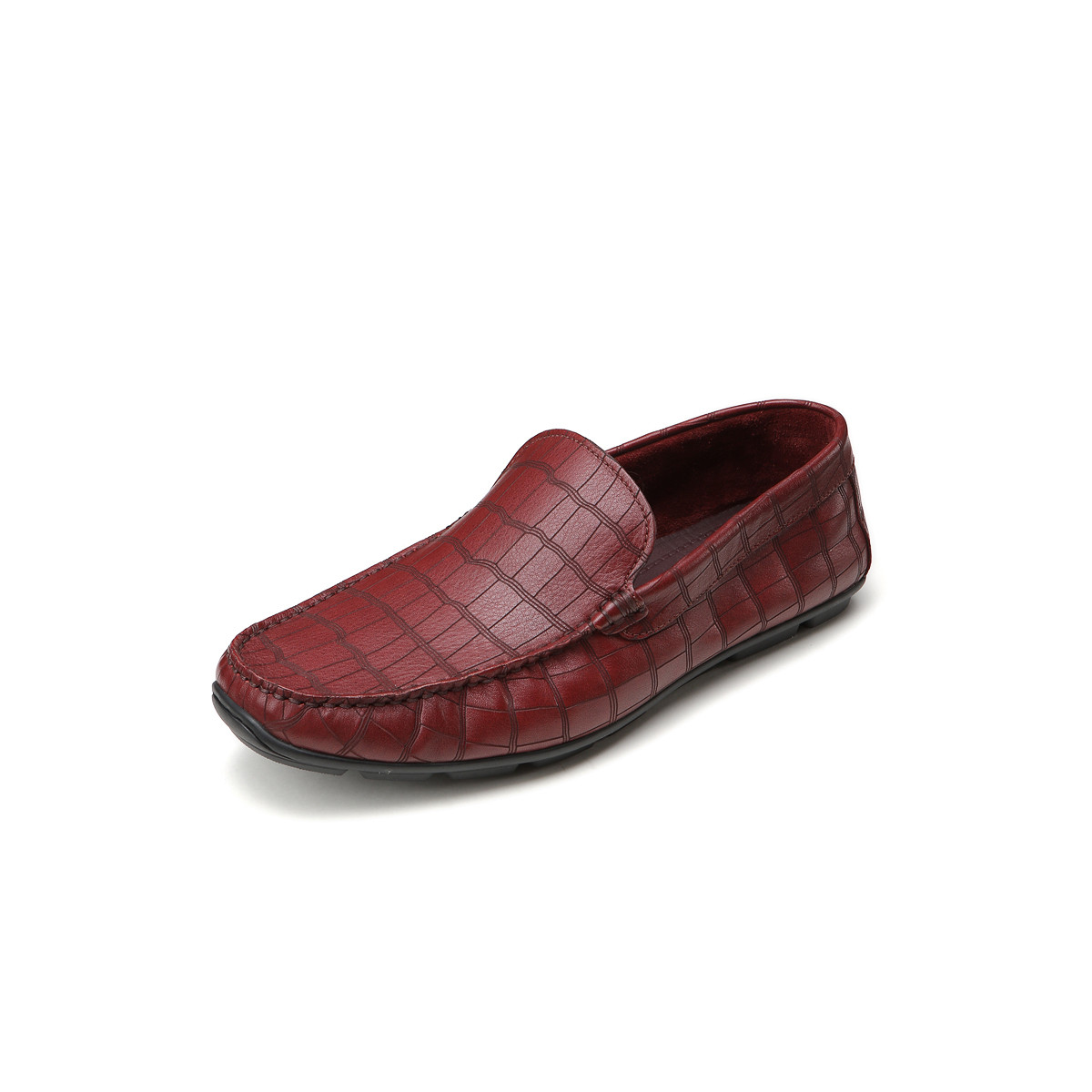 BOSSSUNWEN牛皮石头纹套脚男鞋男士商务皮鞋男皮鞋男鞋男士皮鞋男鞋31811012836753