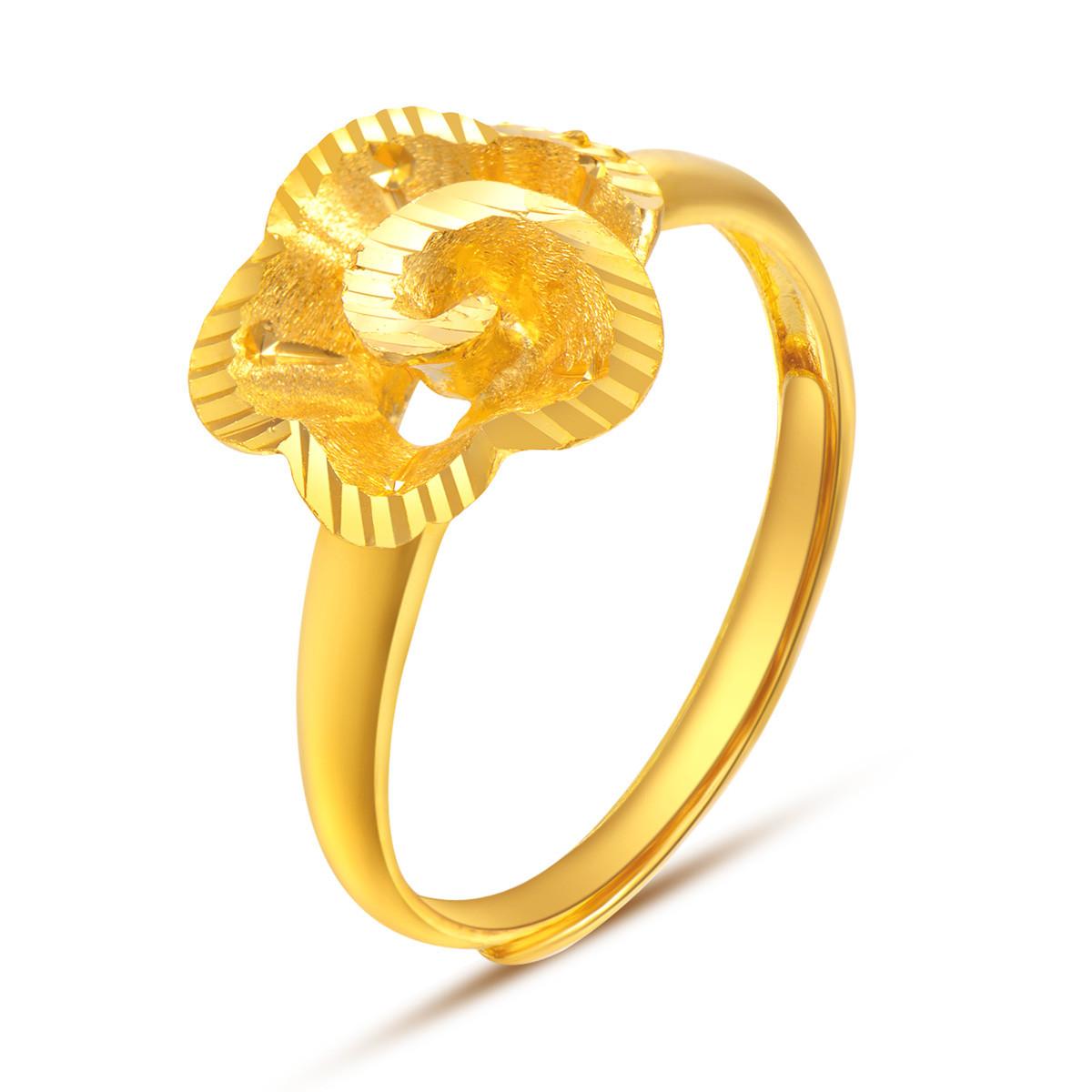 中国黄金足金黄金戒指玫瑰花车花戒指足金戒指黄金指环计价ZGHJJZ2337