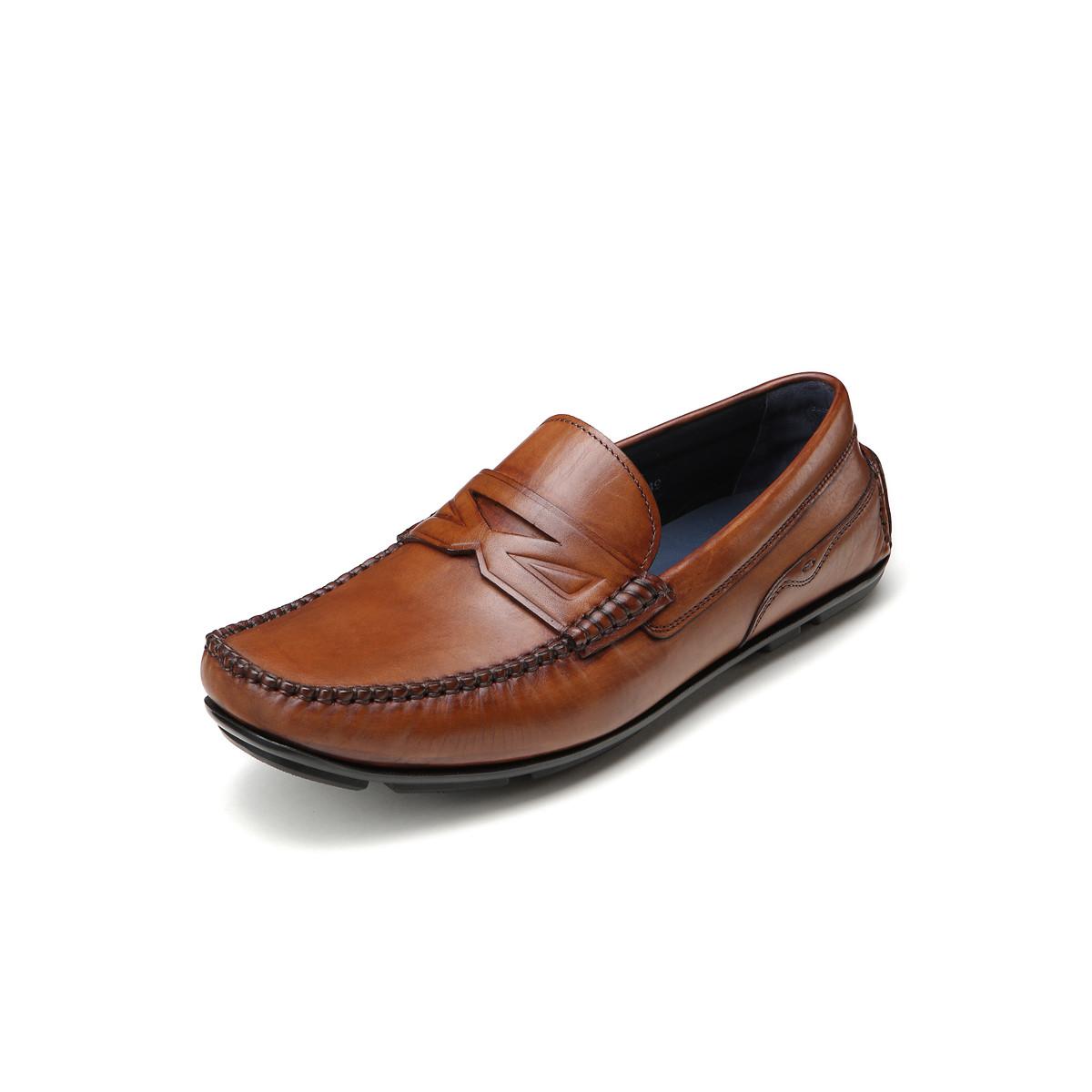 BOSSSUNWEN牛皮一脚蹬轻便男士商务皮鞋男皮鞋男鞋男士皮鞋男鞋31811012226449