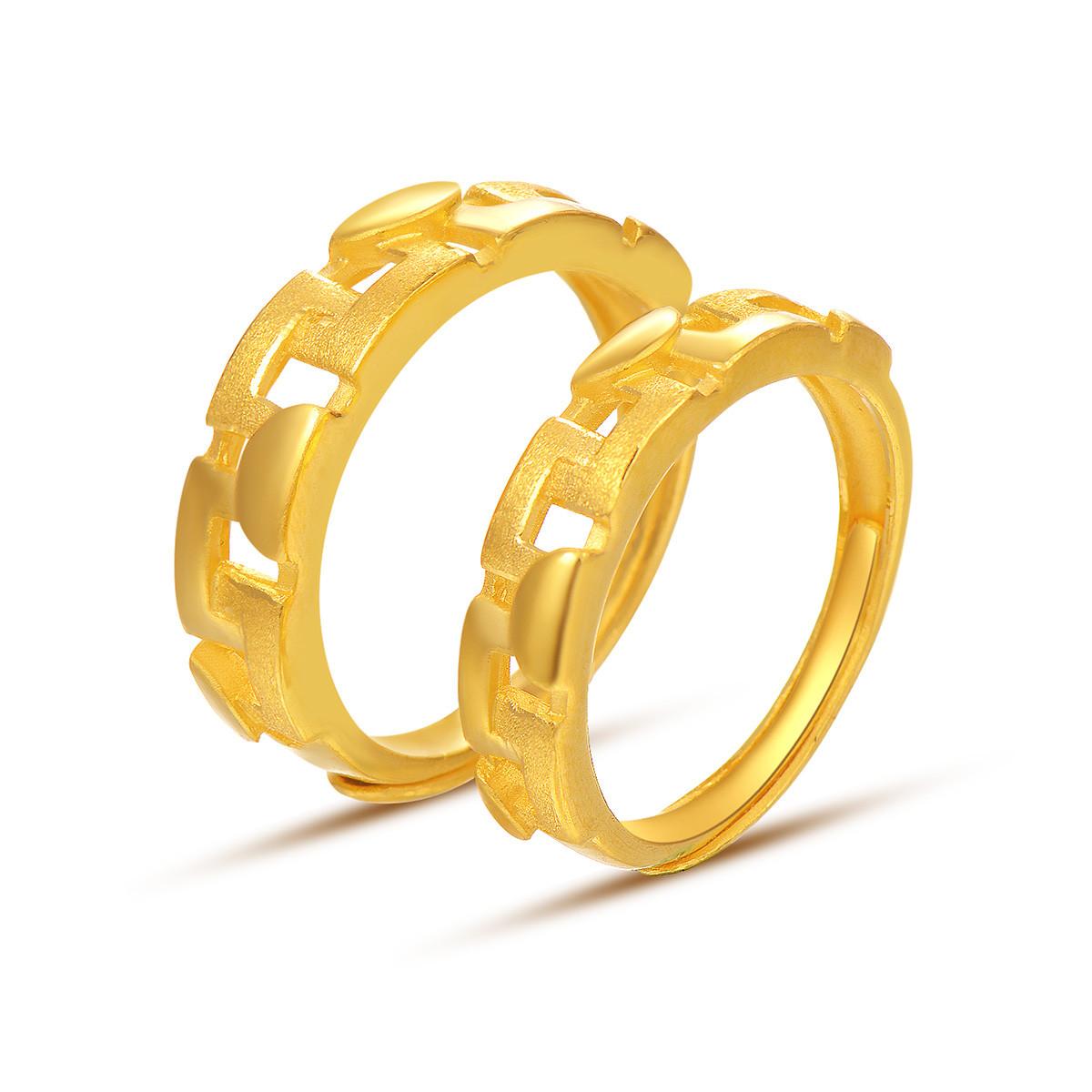 中国黄金足金戒指女士黄金戒指誓言为爱女戒指情侣对戒计价ZGHJJZ2345