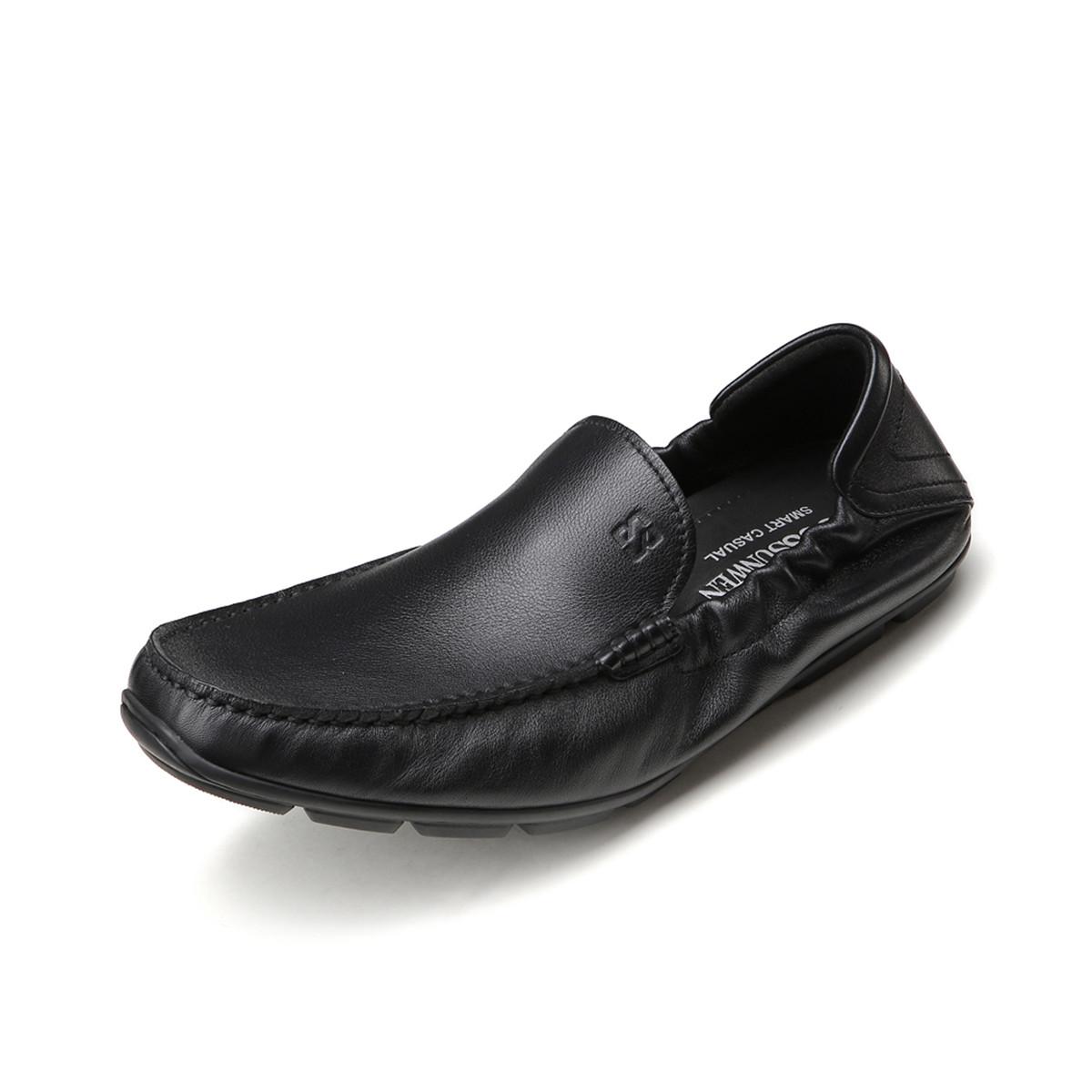 BOSSSUNWEN秋季新品牛皮轻便一脚蹬男款男士商务皮鞋男皮鞋男士男鞋31811010406791