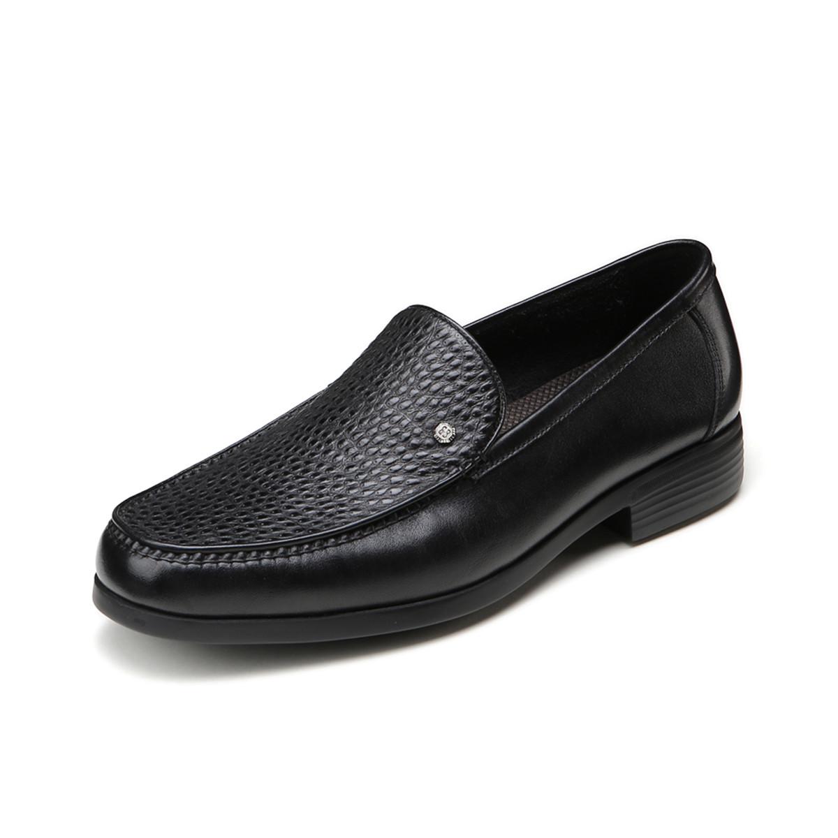 BOSSSUNWEN牛皮超轻男鞋一脚蹬男款男士商务皮鞋男皮鞋男鞋31811011457591