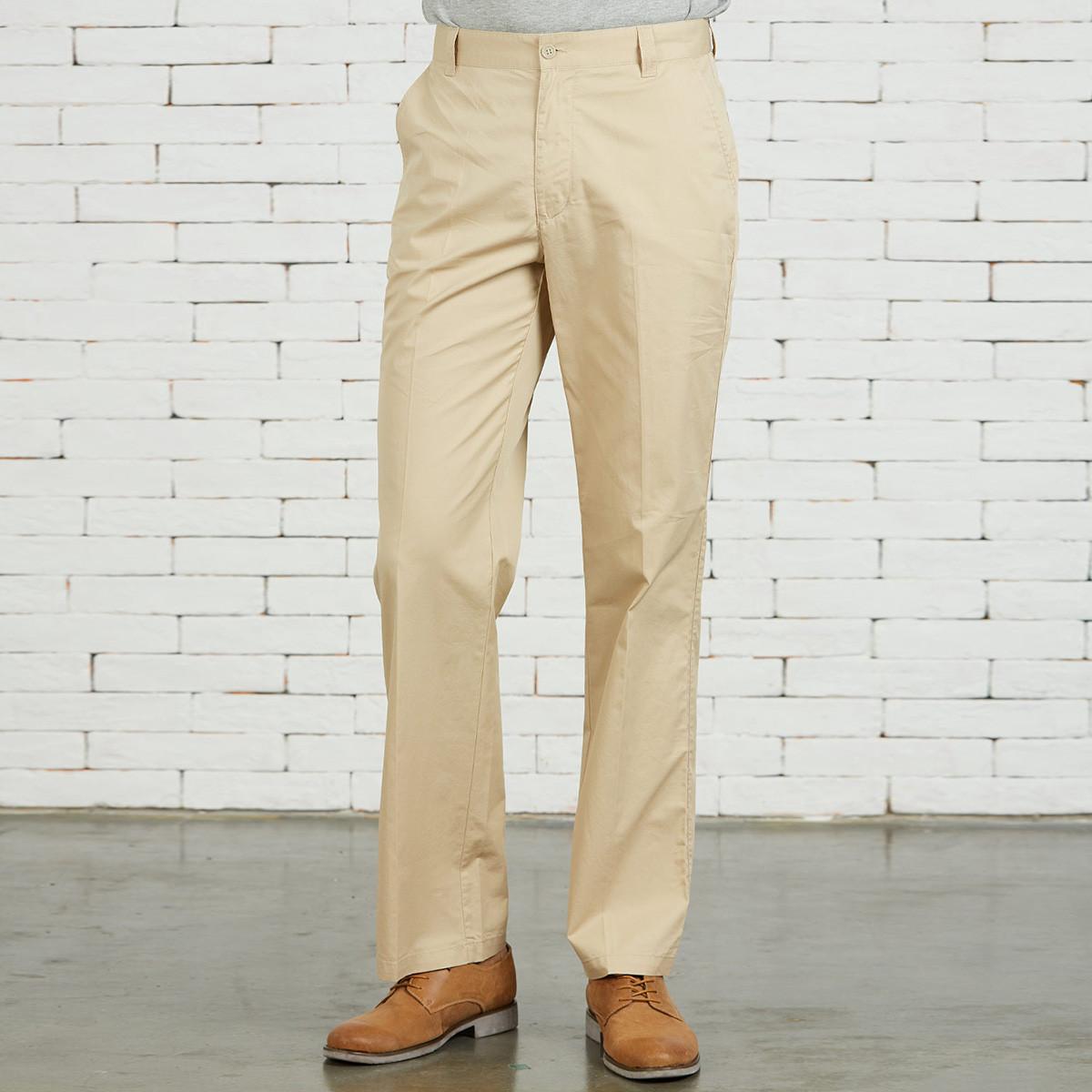 圣大保罗商务休闲宽松薄款无褶侧袋全棉纯色男式休闲长裤PS12WP103R3