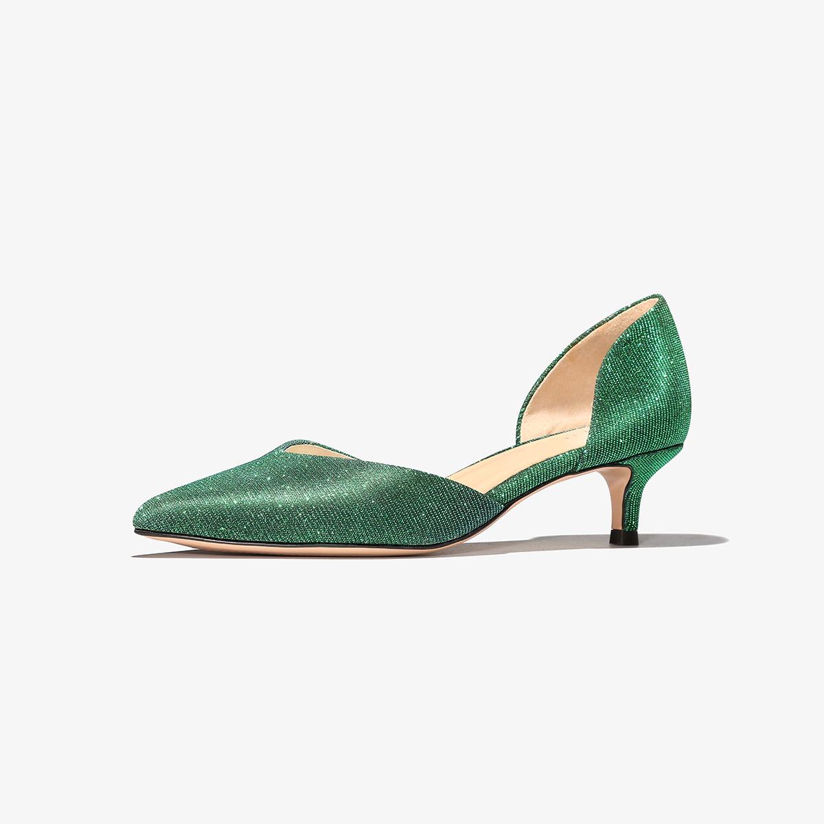 色非格利特时尚百搭中空女鞋尖头细跟工作鞋中跟浅口单鞋SFWL-C394P6183
