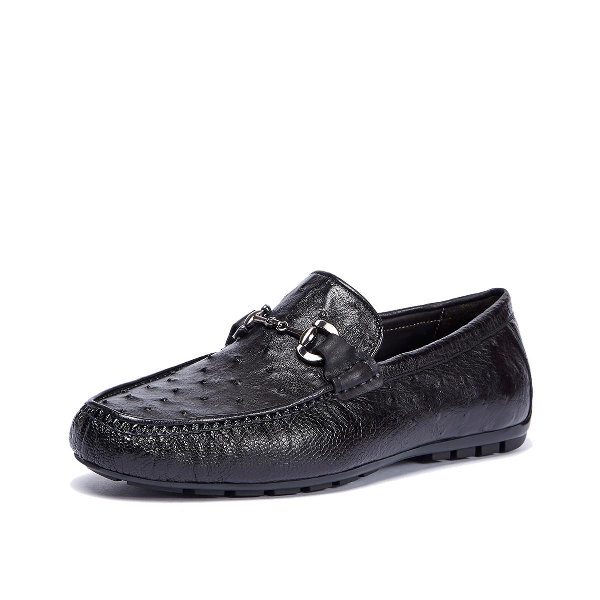 迪宝·阿治奥2019新款 擦色真鸵鸟皮豆豆鞋男鞋男士商务皮鞋男士皮鞋DJ1A2114011J