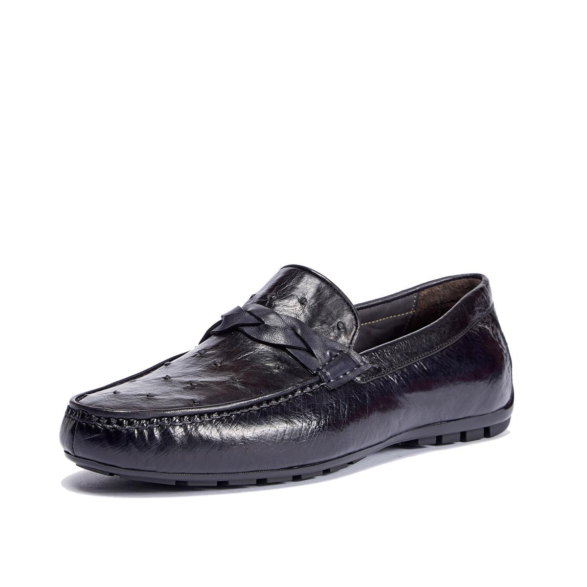 迪宝·阿治奥2019新款 擦色真鸵鸟皮豆豆鞋男士商务皮鞋男鞋男士皮鞋DJ1A2115011J