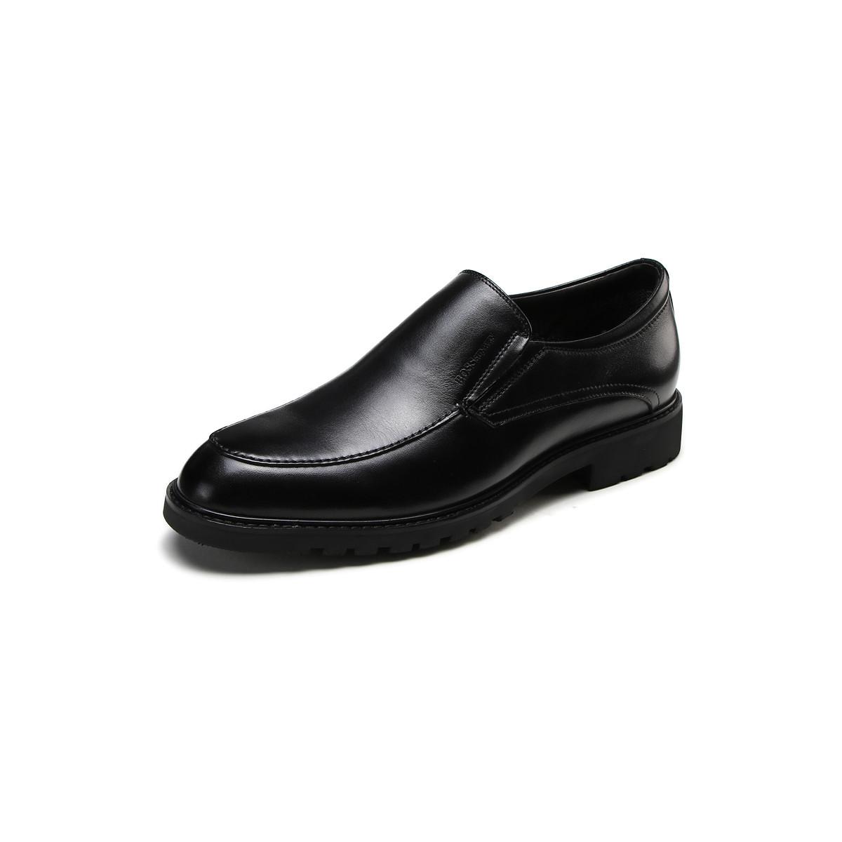 BOSSSUNWEN新品牛皮一脚蹬男士商务皮鞋男皮鞋男鞋男士皮鞋男鞋Q38DB8623A