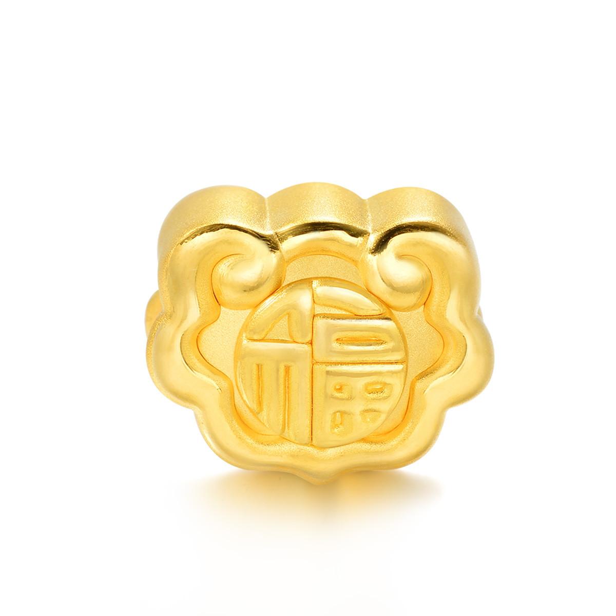 周生生周生生福字如意黄金转运珠项链吊坠(配绳需另购)B86338p如图
