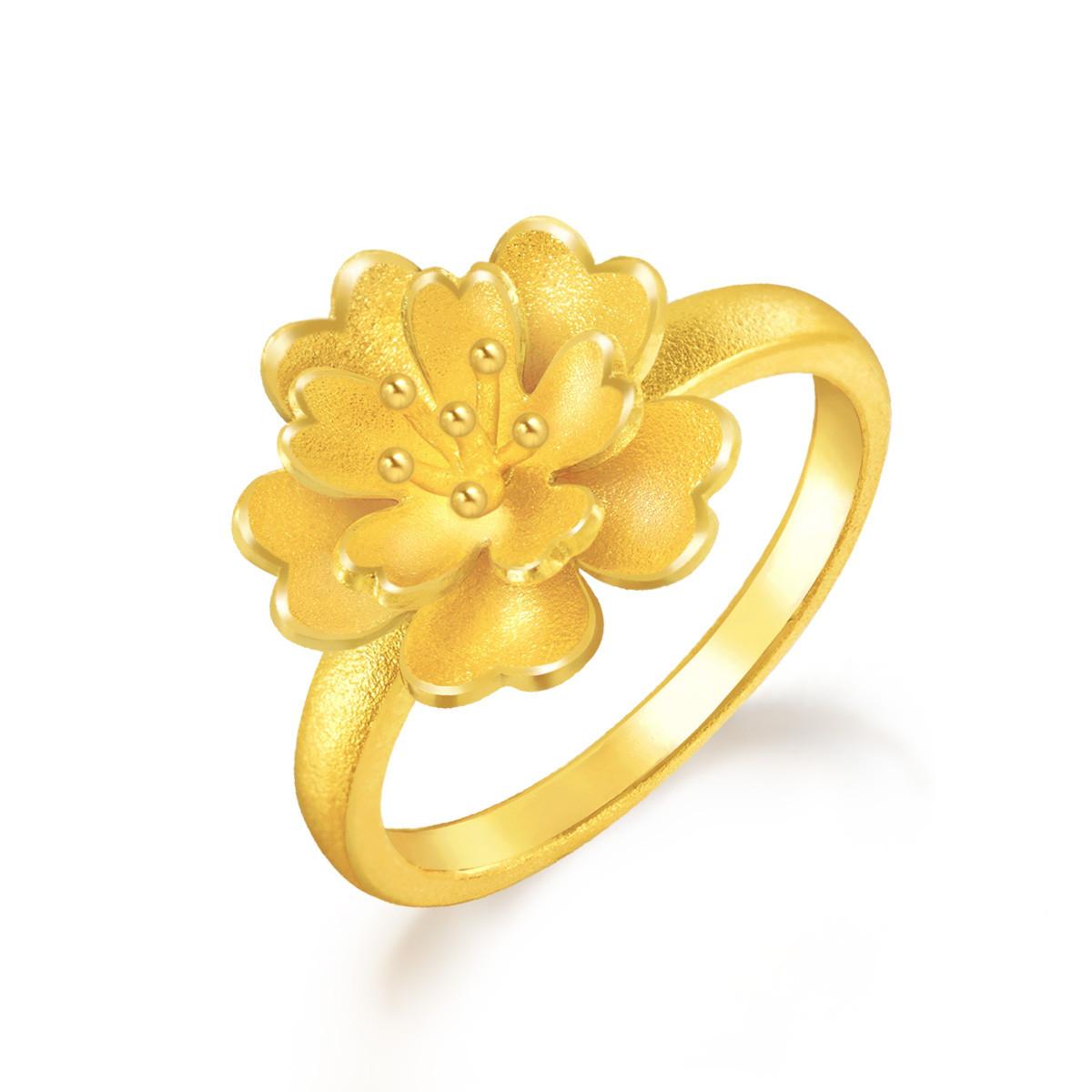 周生生周生生黄金花卉戒指B83686r如图