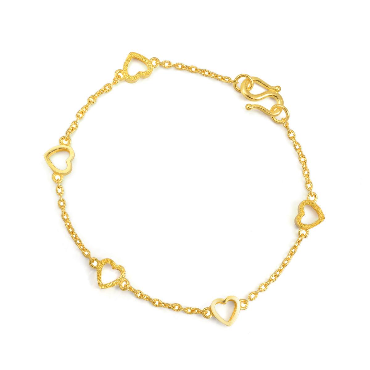 周生生周生生正品黄金首饰光间闪沙心形手链珠宝足金手链B14677b如图