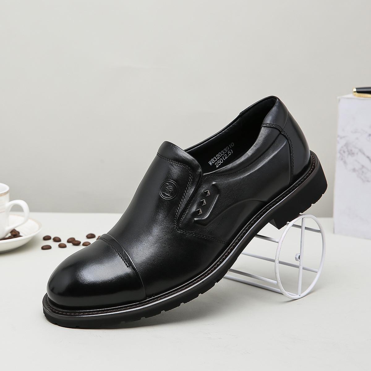 骆驼牌骆驼牌男鞋 时尚商务绅士黑色牛皮低帮套脚职业皮鞋商务鞋正装鞋W811033910HE