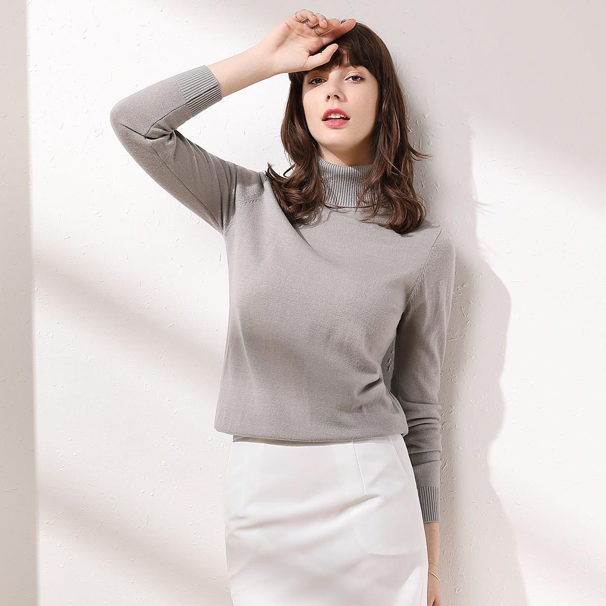 皮尔·卡丹100%羊毛衫针织毛衣女式两翻领羊毛衫B22WP8211954