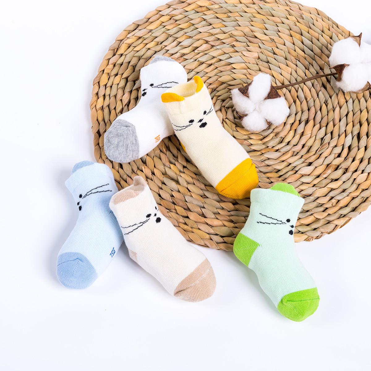 贝贝怡(5双装)男女宝宝婴儿袜子2019新款儿童可爱卡通宝宝短袜193P2138251