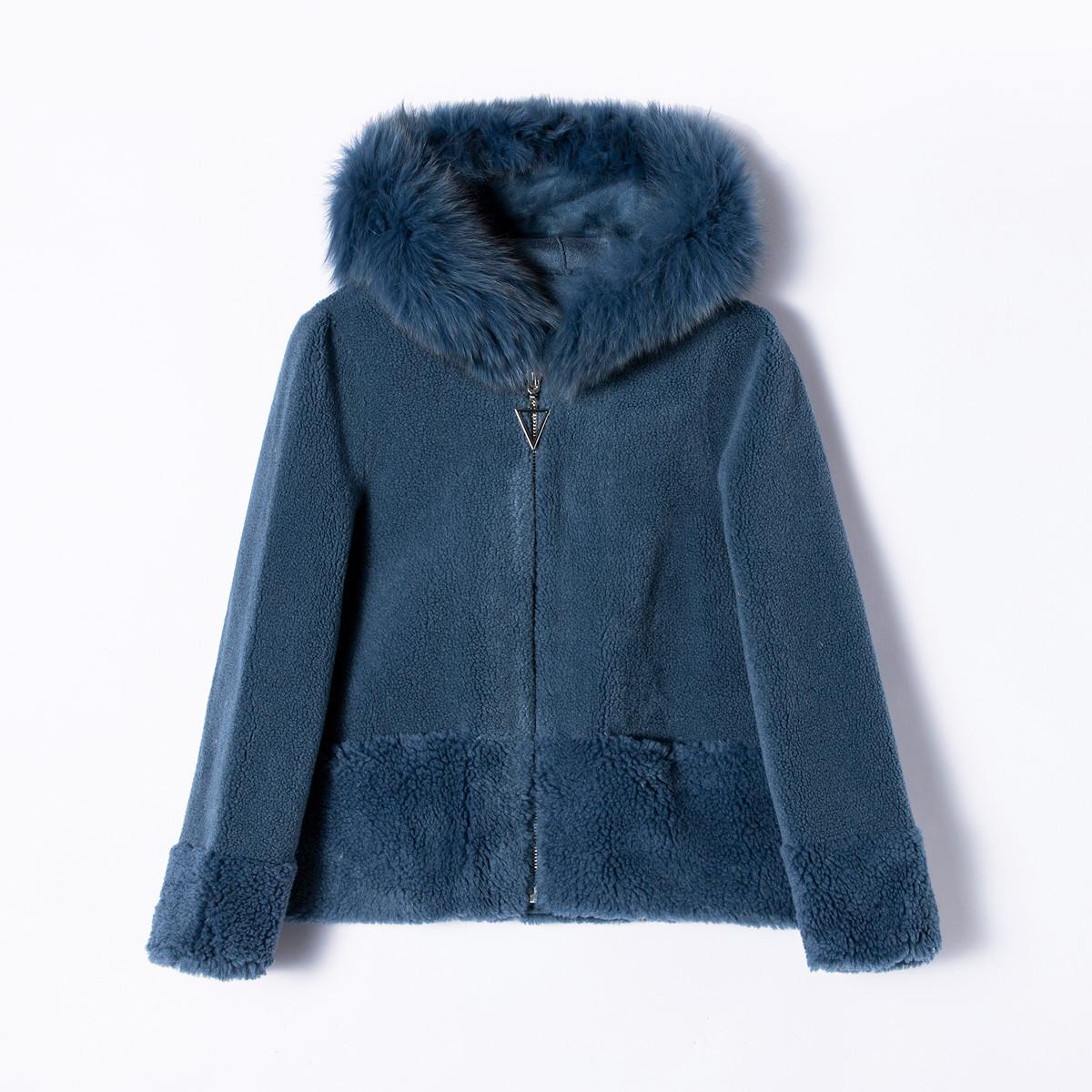 爱迪.丹顿19冬季新品时尚连帽款颗粒绒优雅羊毛皮草外套SM4398073-08