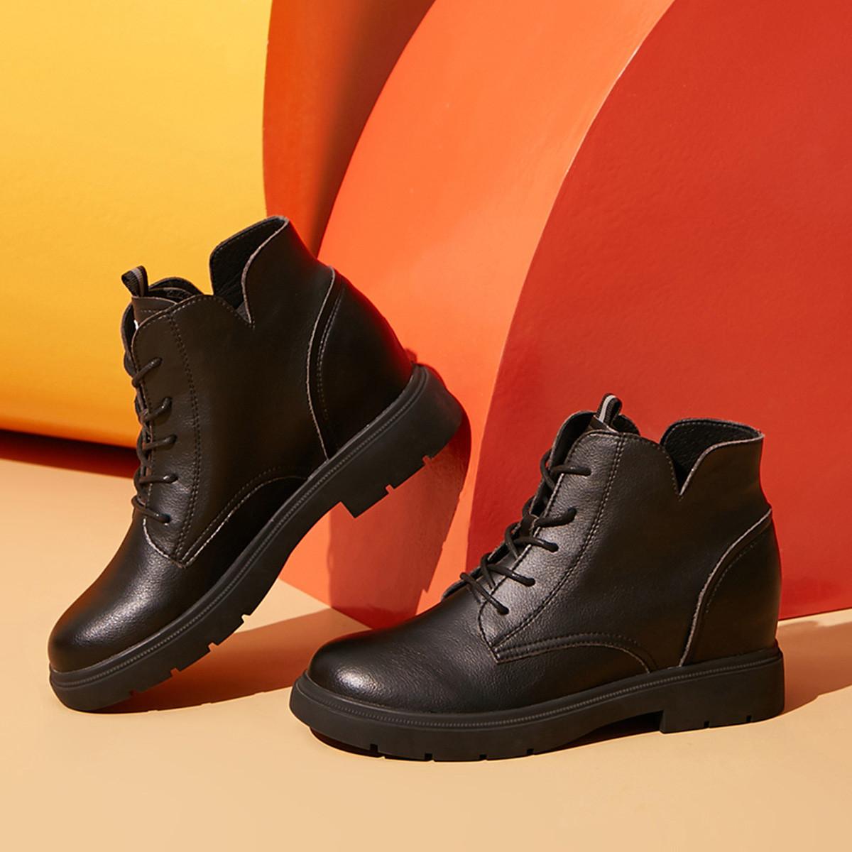 卓诗尼日常休闲2019秋冬新款女靴中筒保暖百搭欧美系带粗跟时装靴女11691645301