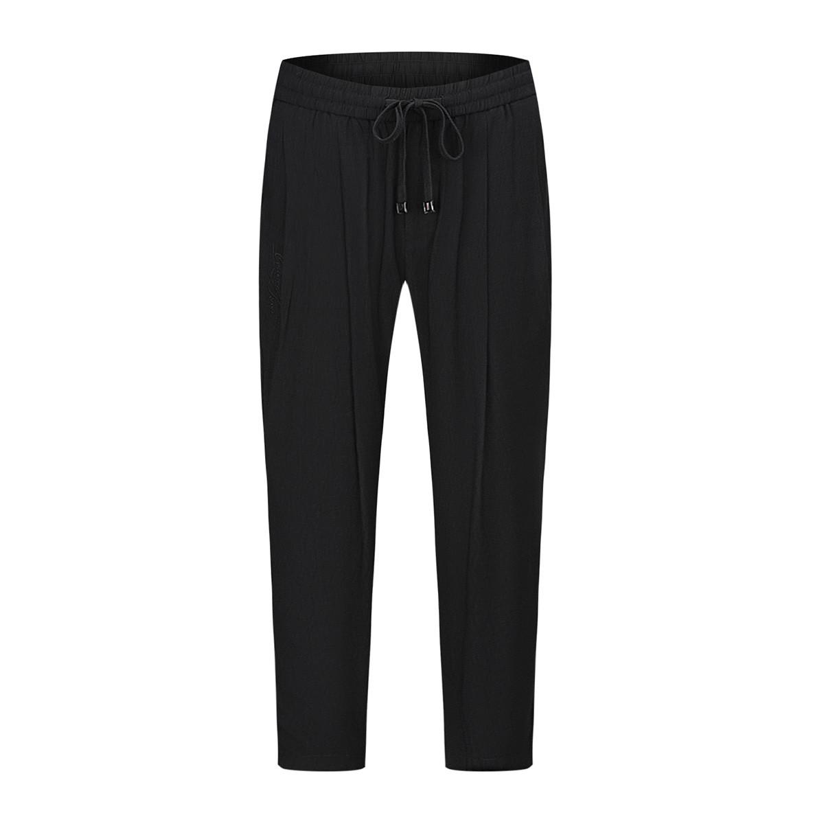 卡里亚尼CALIANI男式纯色宽松系带休闲裤CXK77110618-01