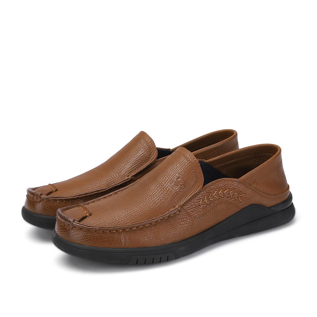 骆驼皮鞋男日常休闲鞋舒适耐磨真皮皮鞋简约套脚休闲皮鞋90820541912050TH