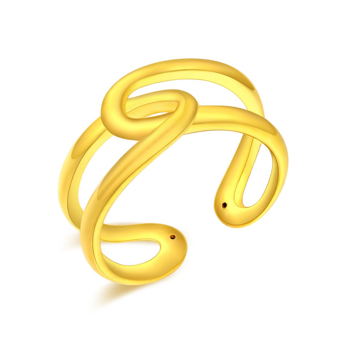 翠绿翠绿 3D硬金黄金女式戒指(计价)A08000020008